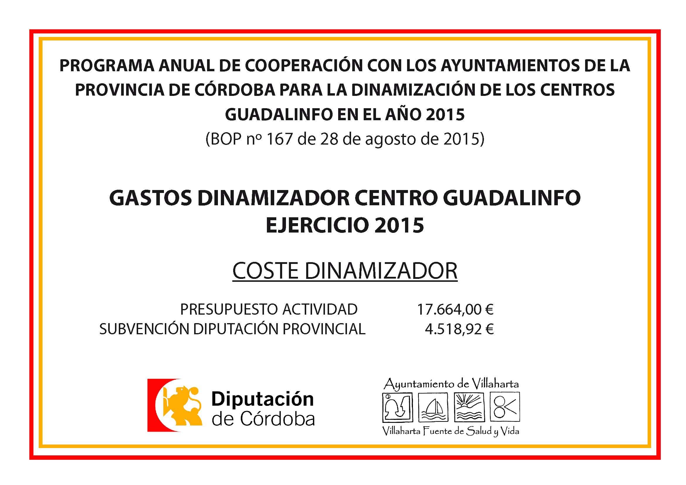 Gastos dinamizador Centro Guadalinfo