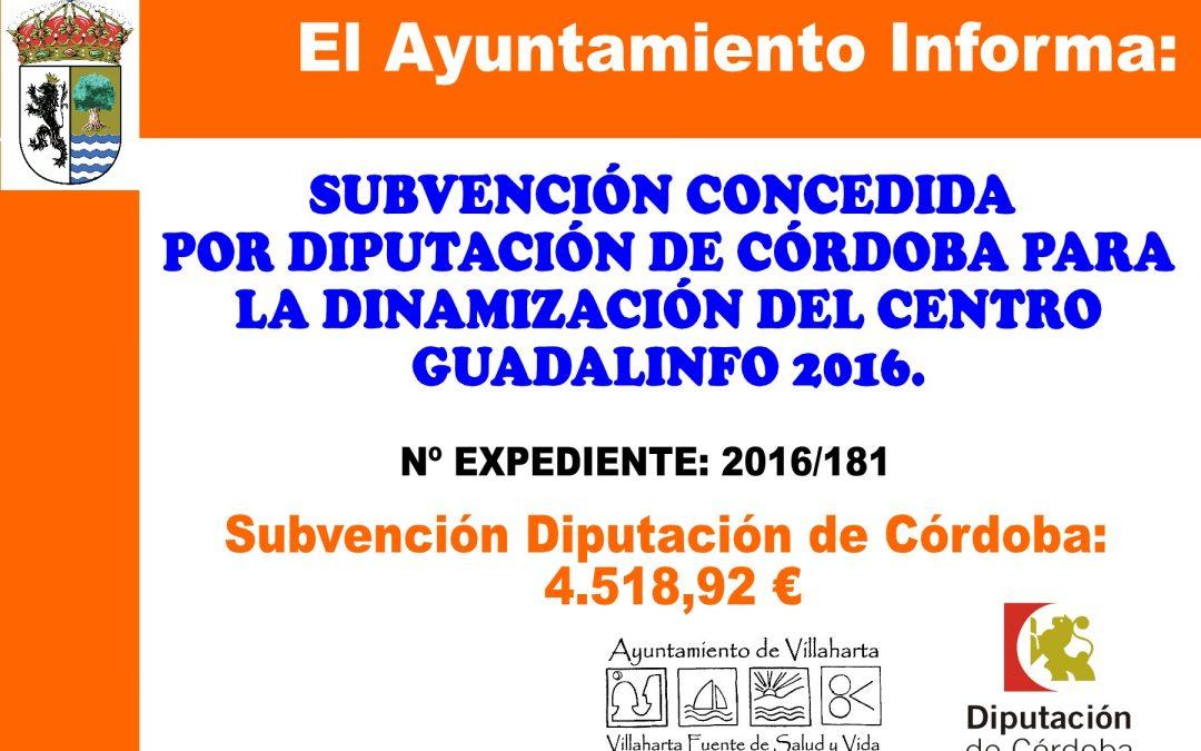 SUBVENCIÓN CONCEDIDA POR DIPUTACIÓN DE CÓRDOBA
