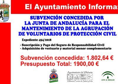 SUBVENCIONES RECIBIDAS. 2018 2