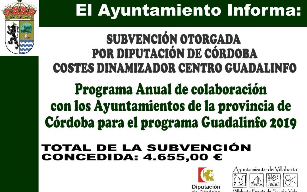 SUBVENCIÓN RECIBIDA. PROGRAMA GUADALINFO