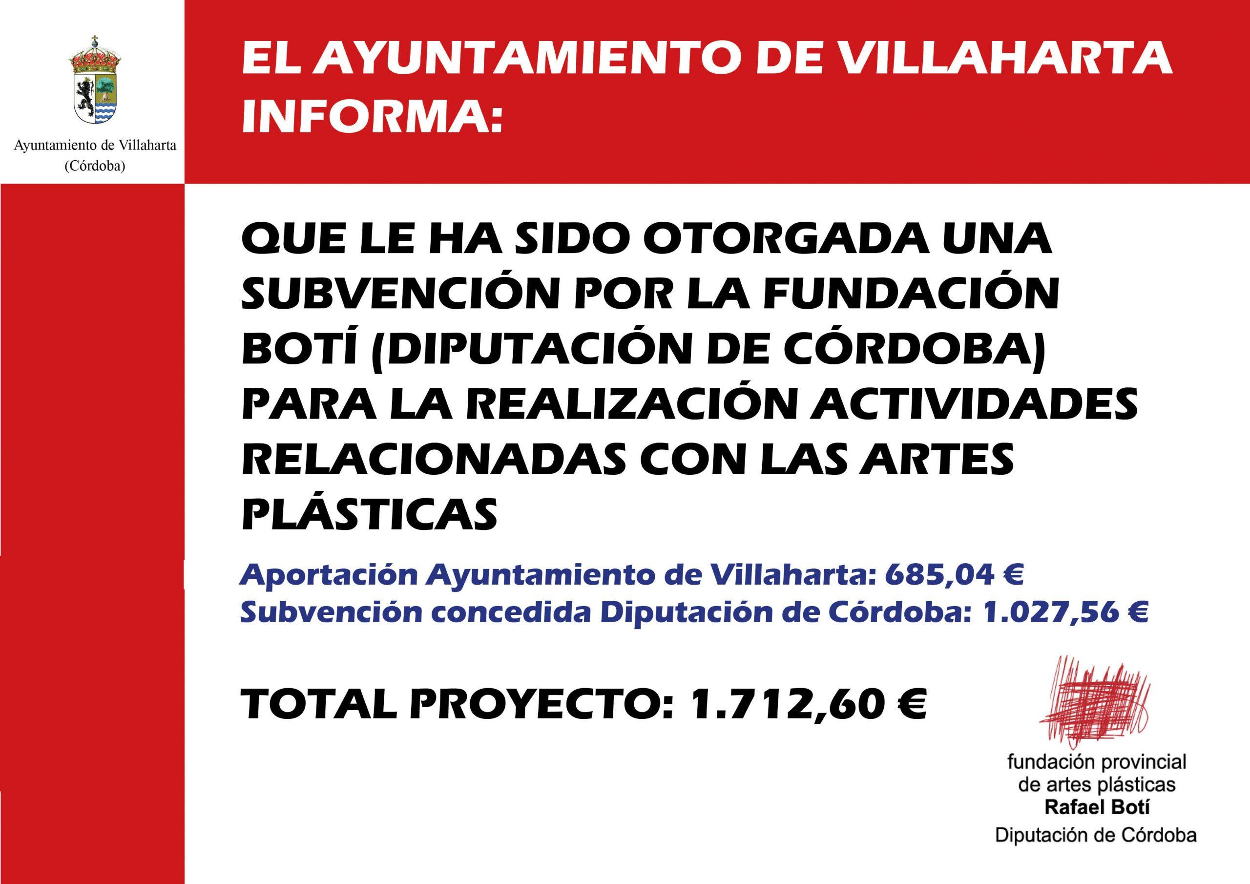 Cartel subvención Rafael Botí 2019