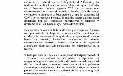 SUSPENSIÓN DE FERIA Y AGUOSTO 2020