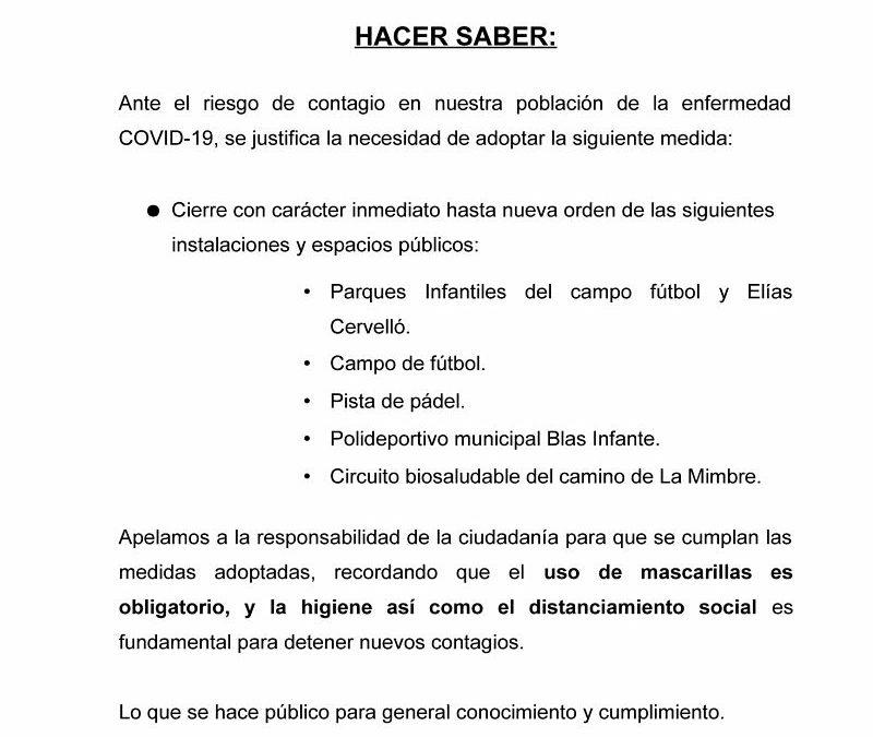 BANDO. CIERRE DE PARQUES E INSTALACIONES DEPORTIVAS
