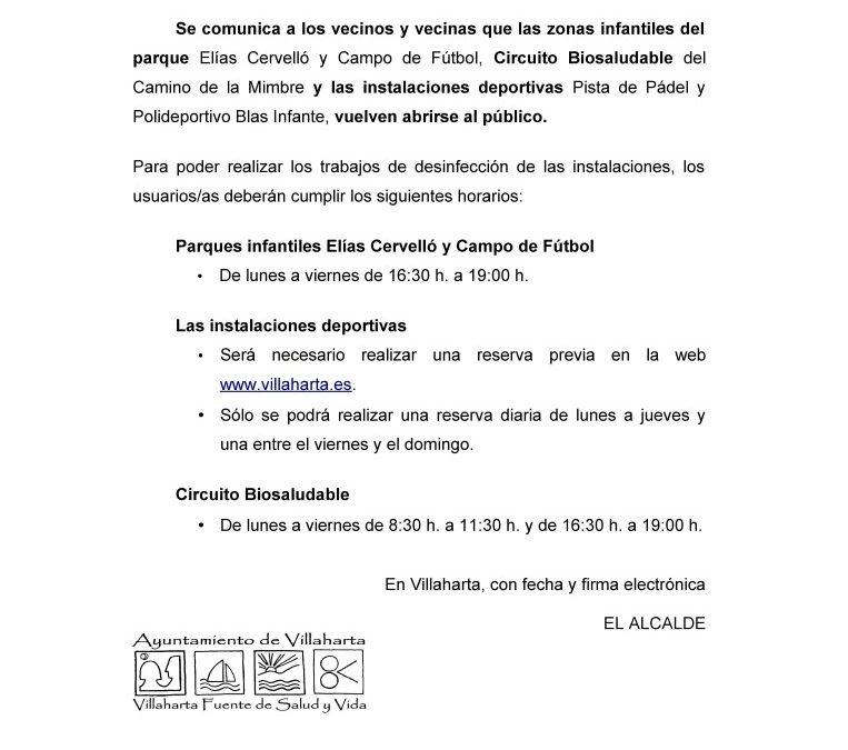 REAPERTURA DE PARQUES INFANTILES E INSTALACIONES DEPORTIVAS