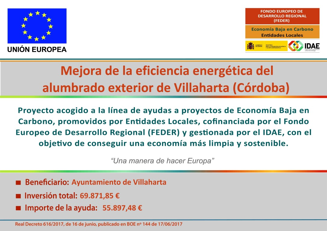 SUBVENCIÓN CONCEDIDA PARA EL PROYECTO DE MEJORA ENERGÉTICA DEL ALUMBRADO EXTERIOR 1
