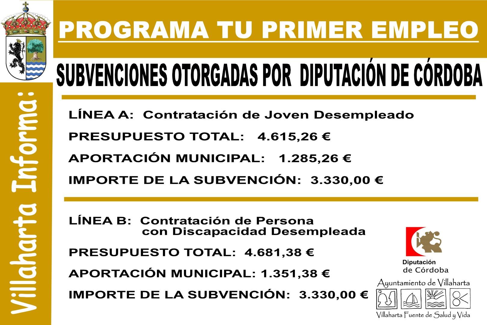 SUBVENCIONES RECIBIDAS PARA EL PROGRAMA TU PRIMER EMPLEO 1