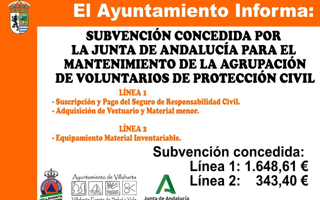 SUBVENCIONES CONCEDIDAS PARA EL MANTENIMIENTO DE LA AGRUPACIÓN DE PROTECCIÓN CIVIL