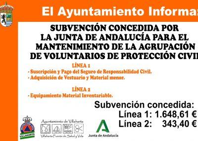 SUBVENCIONES CONCEDIDAS PARA EL MANTENIMIENTO DE LA AGRUPACIÓN DE PROTECCIÓN CIVIL 1