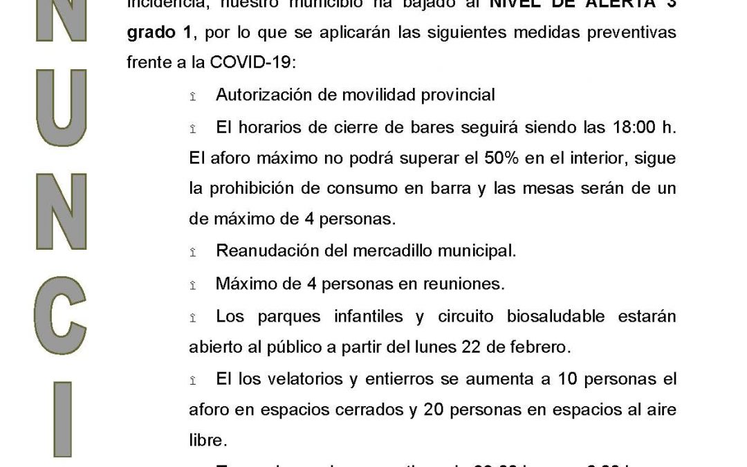 VILLAHARTA BAJA AL NIVEL DE ALERTA 3