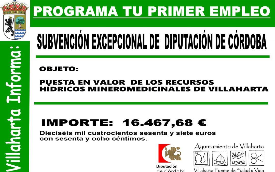 SUBVENCIÓN EXCEPCIONAL DE DIPUTACIÓN DE CÓRDOBA