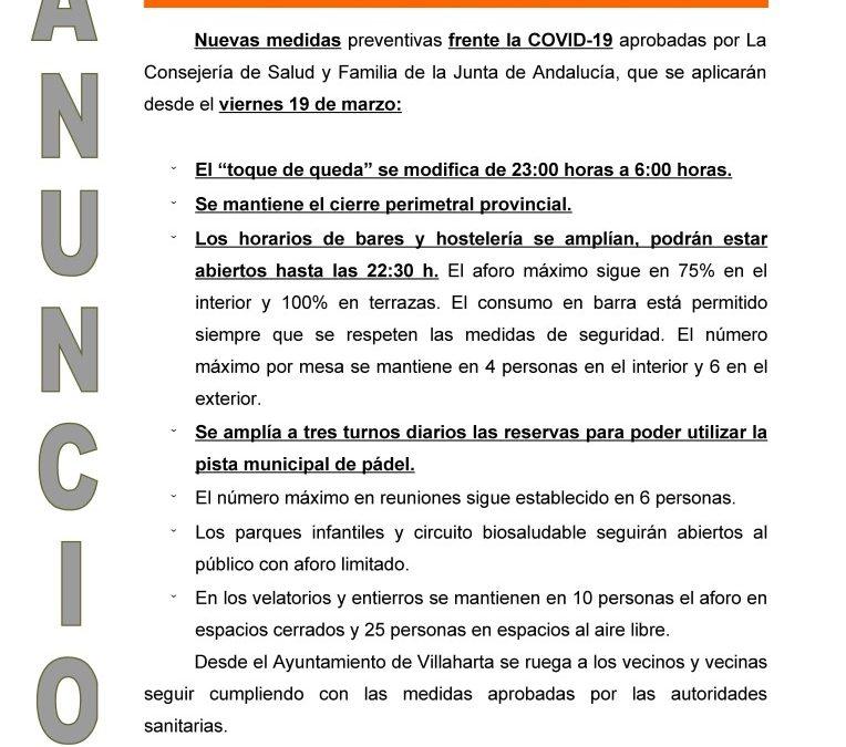 NUEVAS MEDIDAS FRENTE LA COVID19
