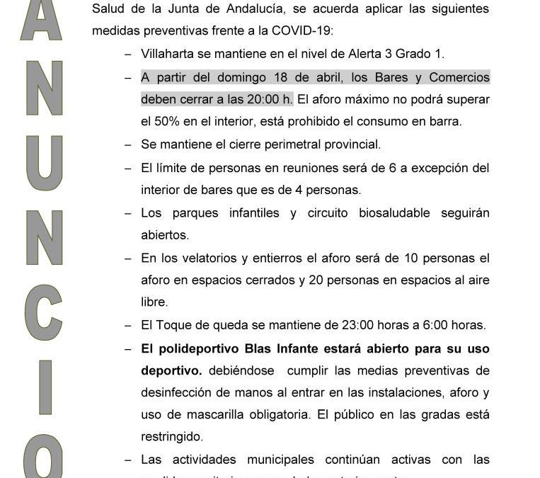 ANUNCIO DE NUEVAS MEDIDAS COVID