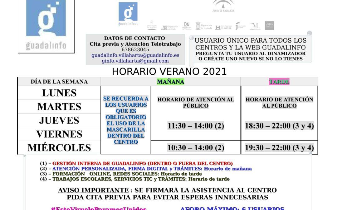 HORARIOS DE VERANO CENTRO GUADALINFO