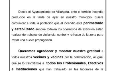 COMUNICADO OFICIAL SOBRE EL INCENDIO FORESTAL