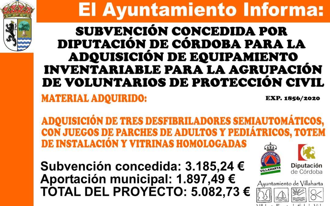 SUBVENCIÓN RECIBIDA. PROTECCIÓN CIVIL