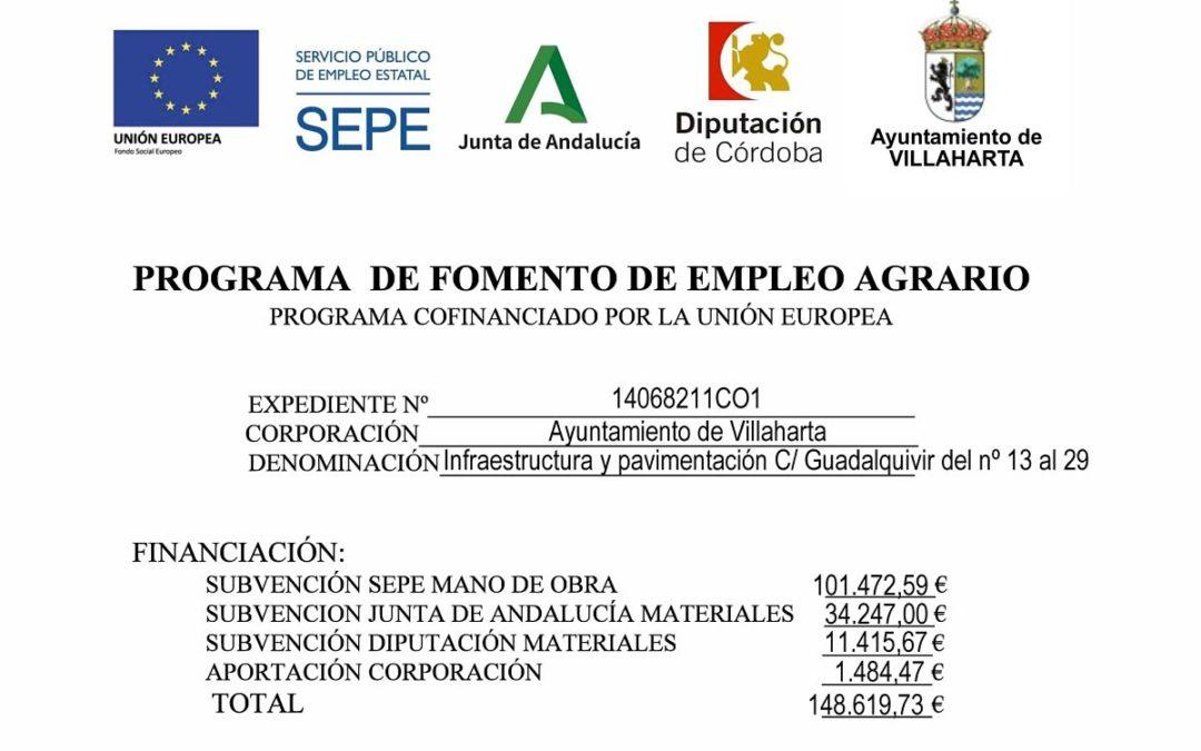 SUBVENCIÓN RECIBIDA. PROGRAMA DE FOMENTO DEL EMPLEO AGRARIO
